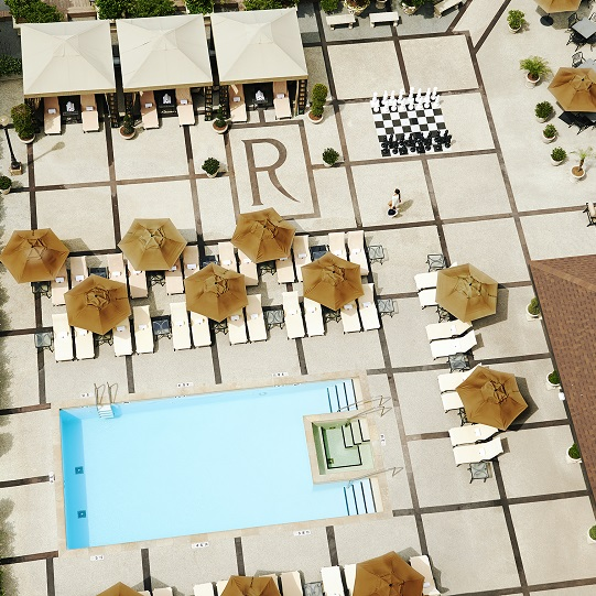 Bird's eye view of The Roosevelt's rooftop pool